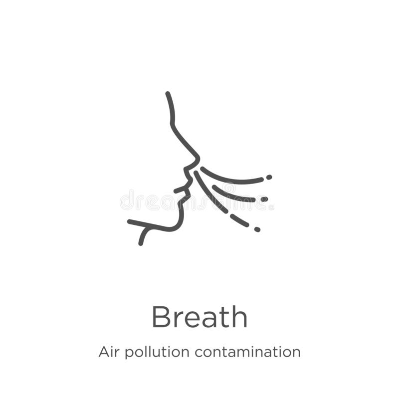 Breath icon vector from air pollution contamination collection. Thin line breath outline icon vector illustration. Outline, thin. Breath icon. Element of air stock illustration