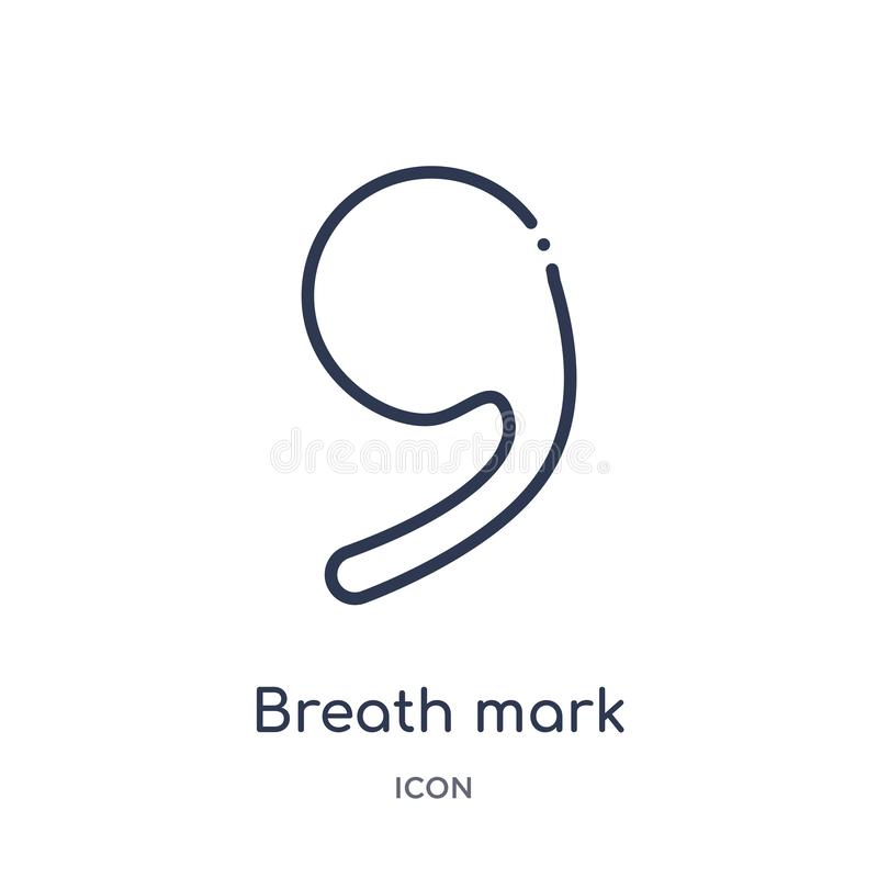Breath mark icon from music and media outline collection. Thin line breath mark icon isolated on white background royalty free illustration
