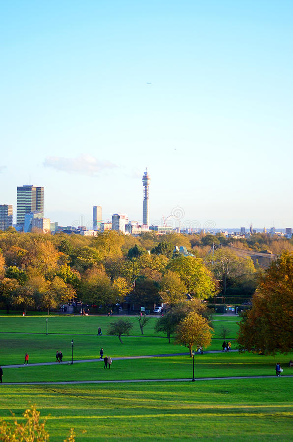 Breath-taking panoramic scenic view of London cityscape seen from beautiful Primrose Hill in St Regents park stock photos