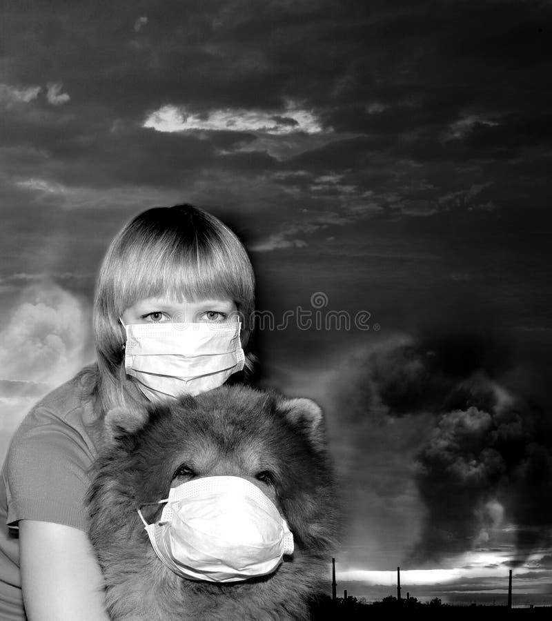 Breathe dirty air through a mask royalty free stock photos