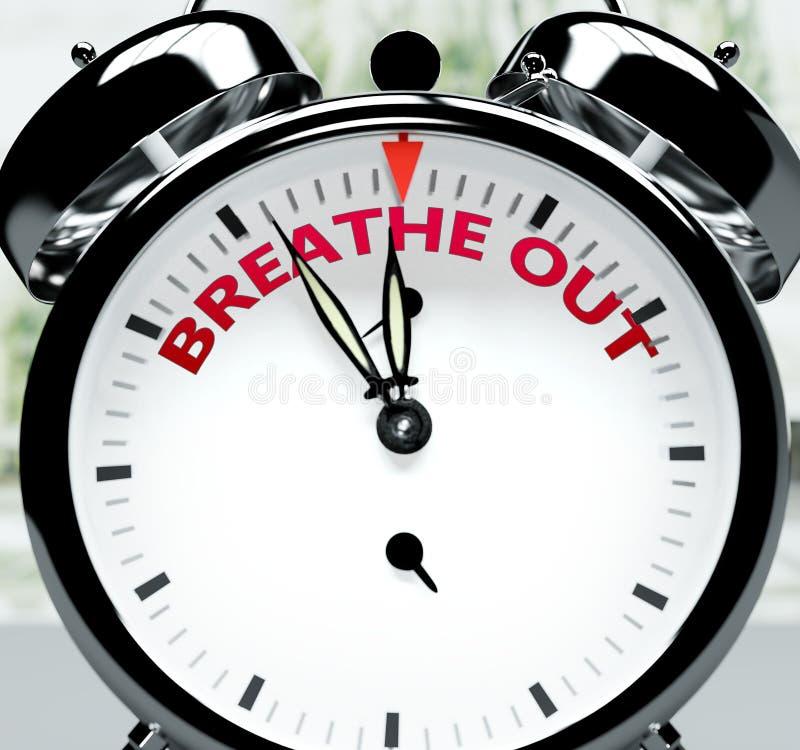 Breathe out pronto, casi allí, en poco tiempo - un reloj simboliza un recordatorio de que Breathe out está cerca, ocurrirá y term stock de ilustración