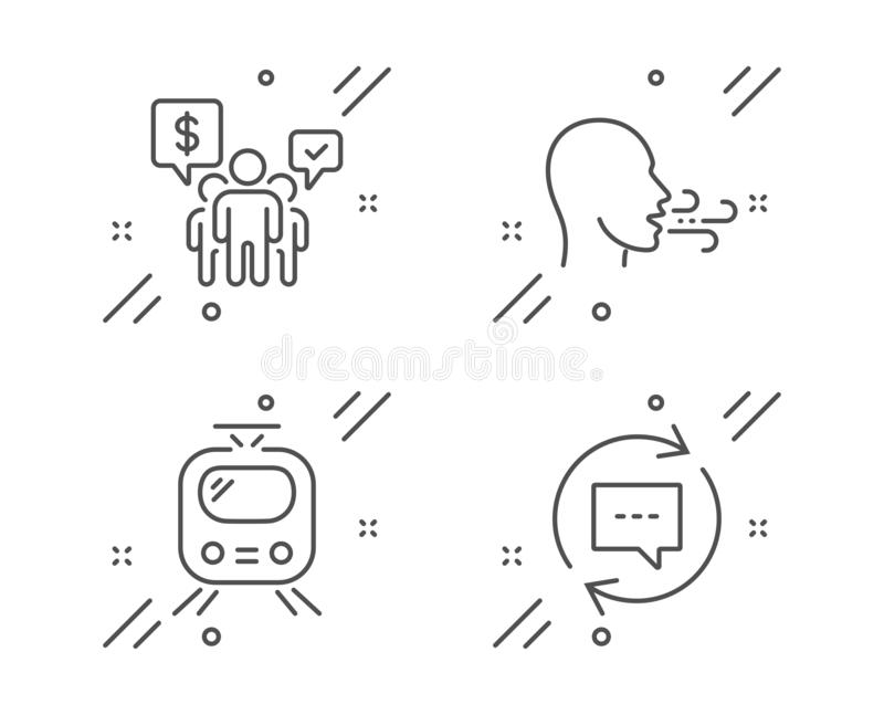 Breathing exercise, Teamwork and Train icons set. Update comments sign. Breath, Employees chat, Tram. Vector stock illustration