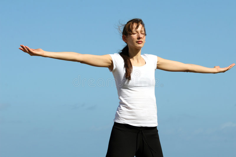 Breathing exercises and yoga royalty free stock photography