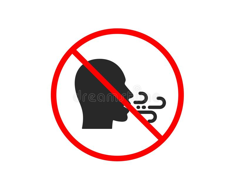 Breathing icon. Breath difficulties sign. Vector. No or Stop. Breathing icon. Breath difficulties sign. Respiration problems symbol. Prohibited ban stop symbol royalty free illustration