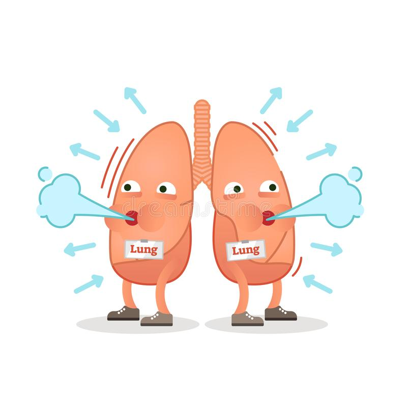 Breathing lungs character vector illustration, conceptual respiration. stock illustration
