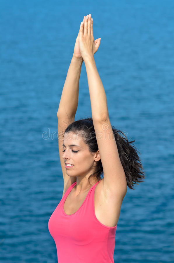 Download Breathing Yoga Exercise With Sea Stock Photo - Image: 26438052