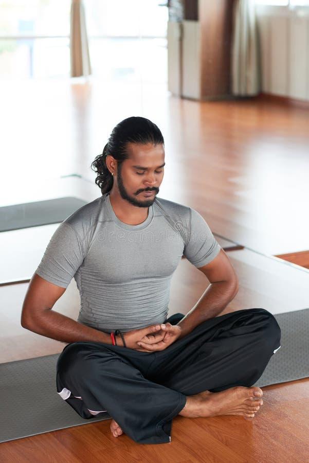 Breathing yogi royalty free stock photo