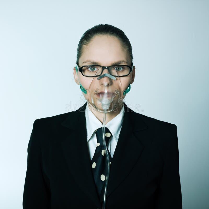 Breathless business woman stock photo