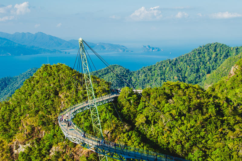Breathtaking aerial landscape with Sky bridge, symbol Langkawi, Malaysia. Adventure holiday. Modern technology. Tourist attraction. Photo of the Breathtaking stock images