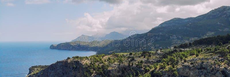 Breathtaking aerial panoramic image rocky coastline of Son Marroig in Palma de Mallorca royalty free stock photos
