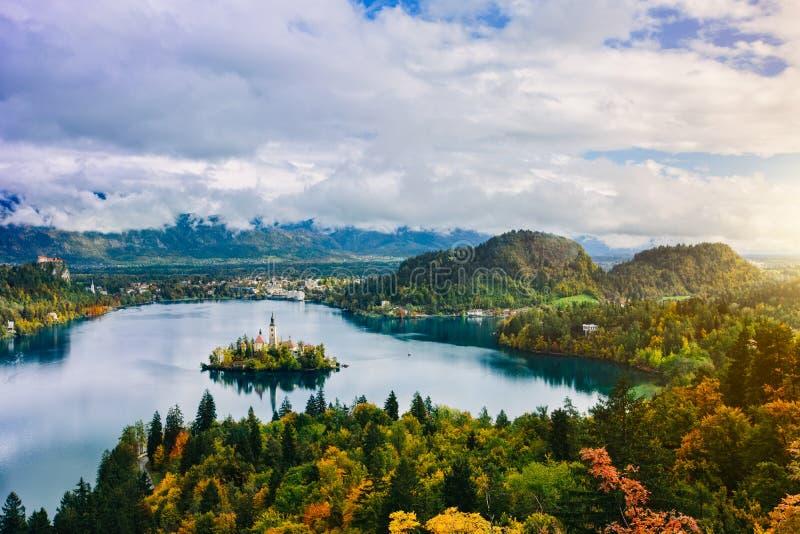 Breathtaking aerial panoramic view of Lake Bled, Slovenia, Europe (Osojnica) stock photos