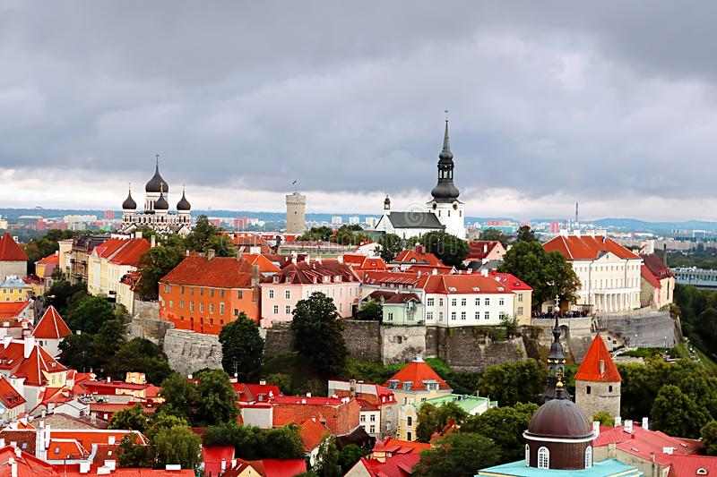 Breathtaking aerial view of the medieval towers and the old town of Tallinn, Estonia stock photos