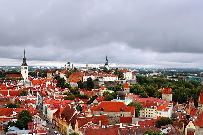 Breathtaking aerial view of the medieval towers and the old town of Tallinn, Estonia royalty free stock photography