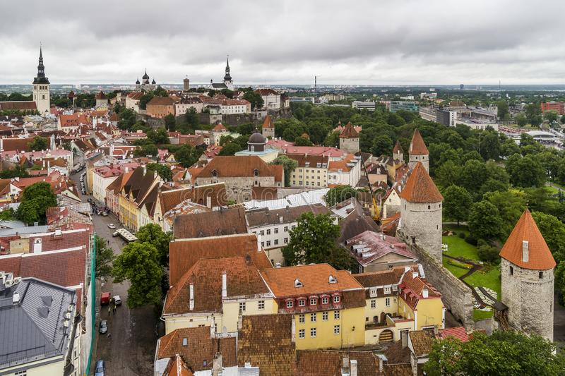 Breathtaking aerial view of the medieval towers and the old town of Tallinn, Estonia, from the top of the St. Olav`s Church bell t stock photos