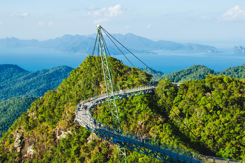 Breathtaking aerial view with Sky bridge, symbol Langkawi, Malaysia. Adventure holiday. Modern technology. Tourist attraction. Photo of the Breathtaking aerial stock photography