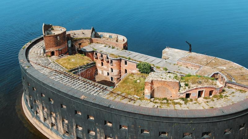 Breathtaking ancient brick constructions in old fort aerial royalty free stock images