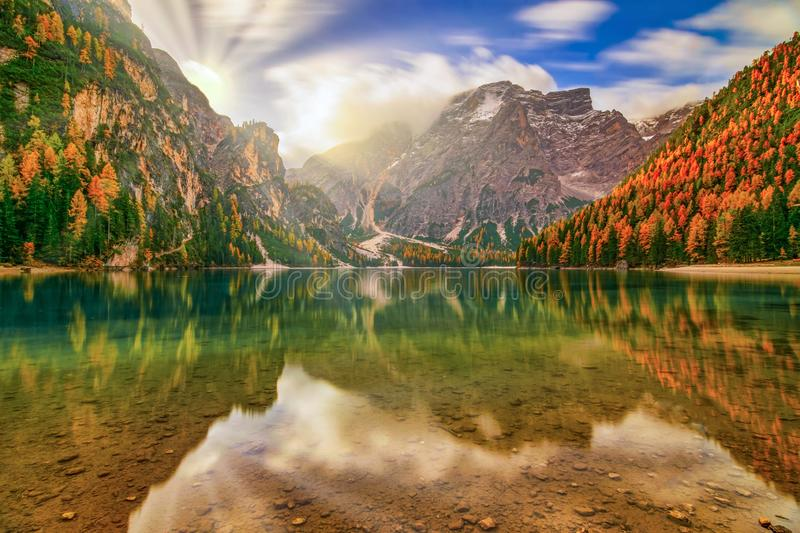 Breathtaking autumn scenery of Braies Lake, Dolomite Alps, Italy royalty free stock photos