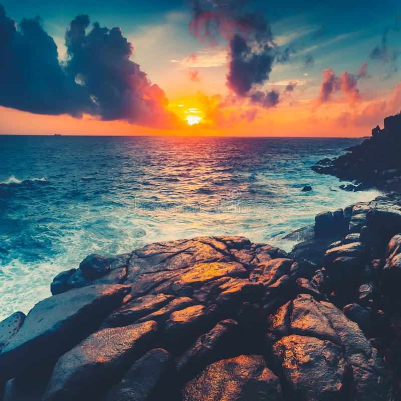 Bright sunset over the Indian Ocean. Unawatuna. royalty free stock image
