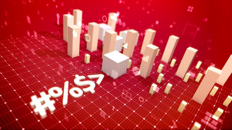 Trade bar chart put aslant in the red backdrop stock illustration