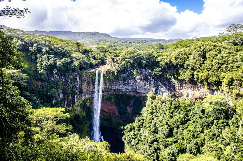 Breathtaking high angle shot of the Chamarel Waterfall in Mauritius stock photo