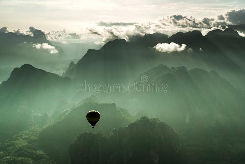 Breathtaking hot air balloon ride stock images
