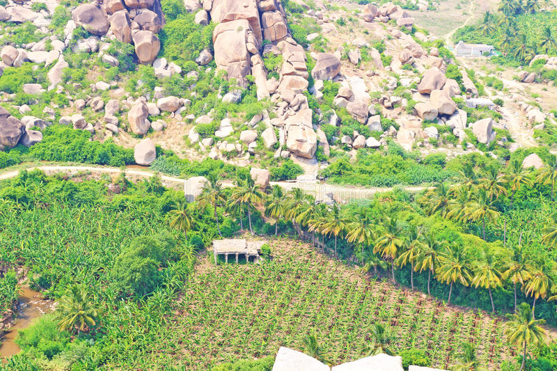 Breathtaking and huge Hampi UNESCO World Heritage Site Karnatak. Mountain of boulders and rocks in Hampi, a stunning huge rock park and Archaeological site royalty free stock photos