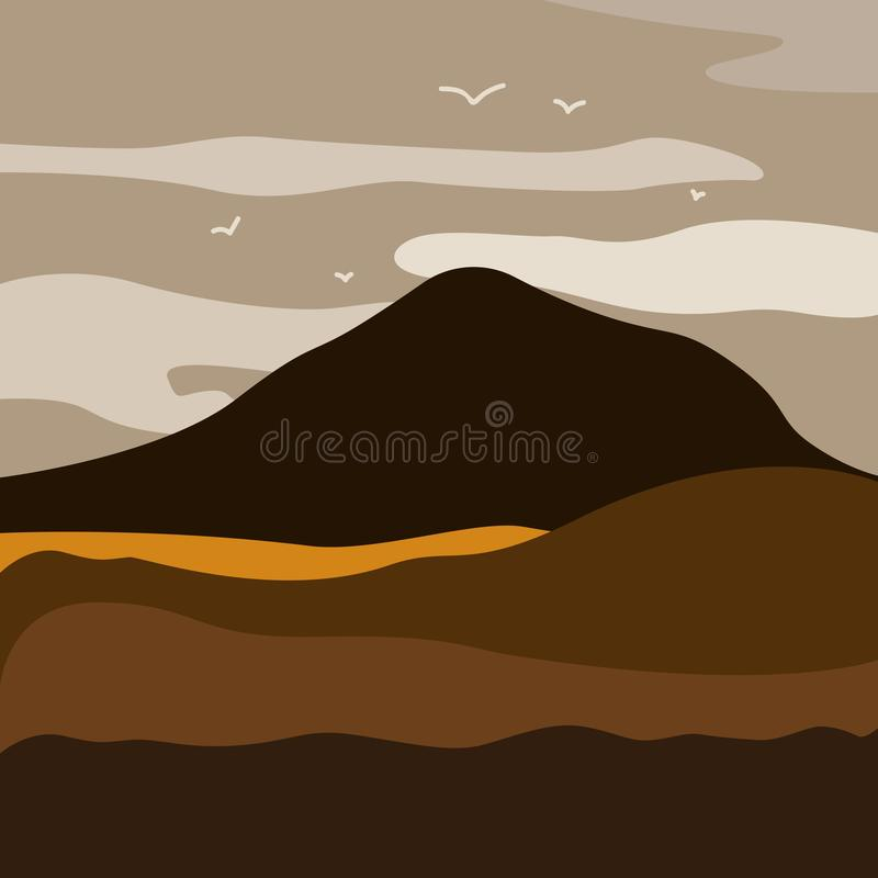 Vector illustration of mountain landscape with forest and flying birds under cloudy sky with dawn. Breathtaking lansdcape of Austrian countryside on sunset royalty free illustration