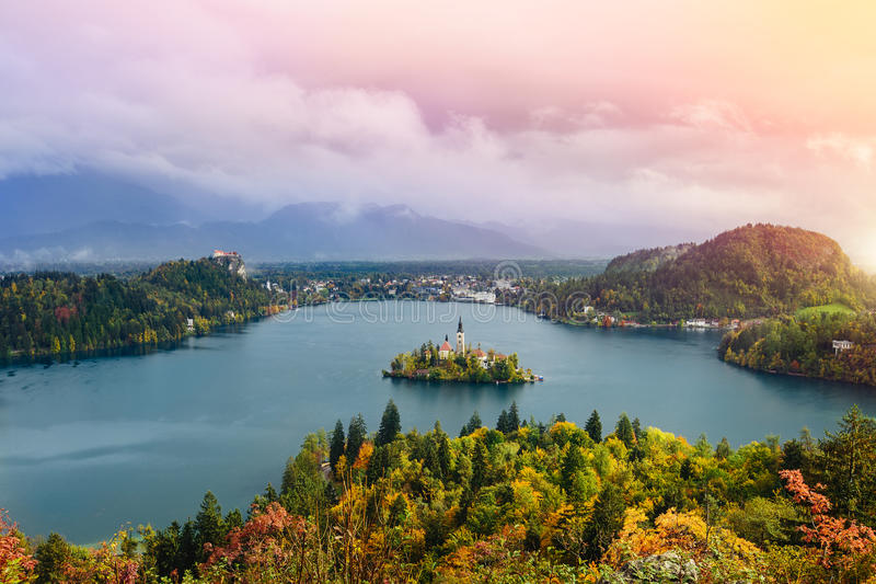 Breathtaking long exposure aerial panoramic view of Lake Bled, Slovenia, Europe (Osojnica) stock images