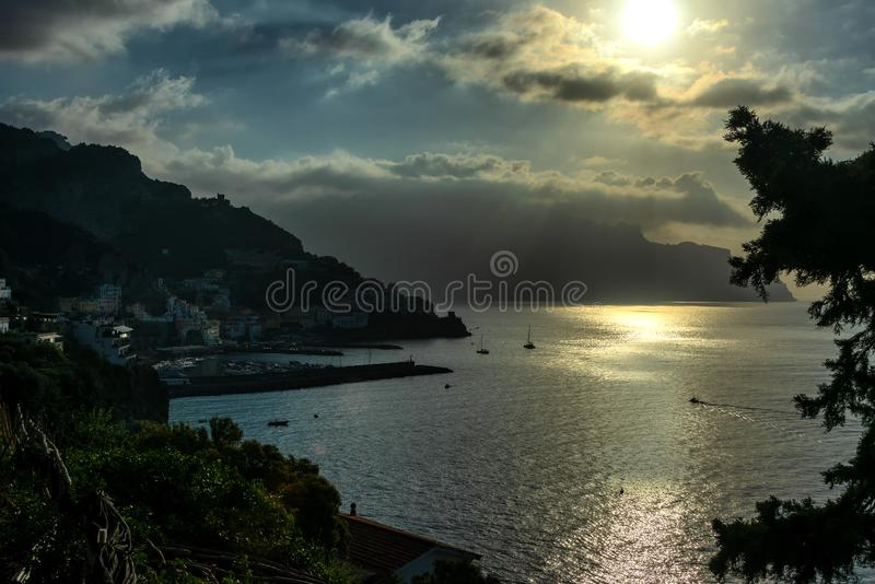 Breathtaking Morning view of Amalfi coast royalty free stock image
