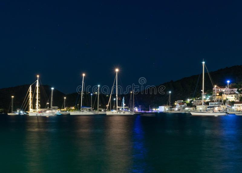 Breathtaking night view towards the Ionion sea and yachts, Vathy, Ithaka royalty free stock image