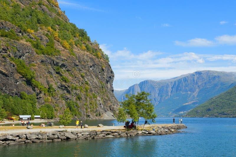 Breathtaking Norweski fjord i halni krajobrazy podczas Norwegia w paru słowach Objeżdżamy Krajobraz Flama zdjęcia royalty free