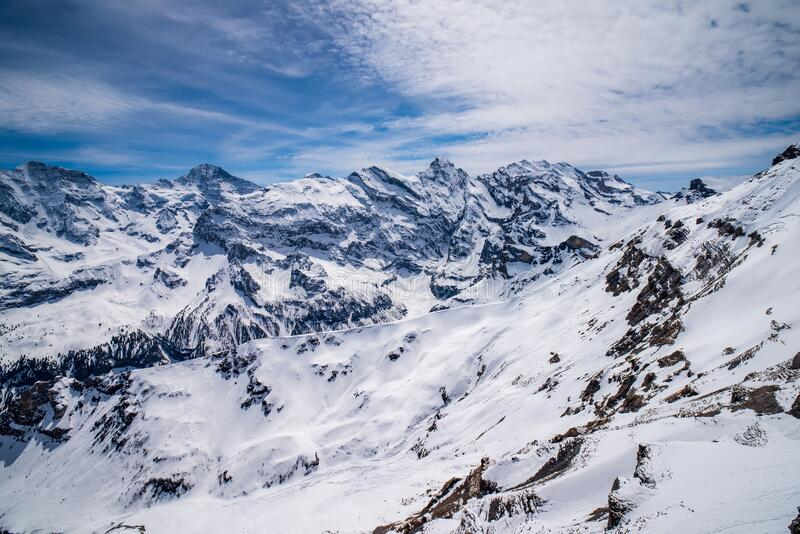 Breathtaking panoramic view of Grosshorn, Breithorn, Gspaltenhorn and Wyssi Frau summits in Swiss Alps, Switzerland. Breathtaking panoramic view of Grosshorn royalty free stock photo