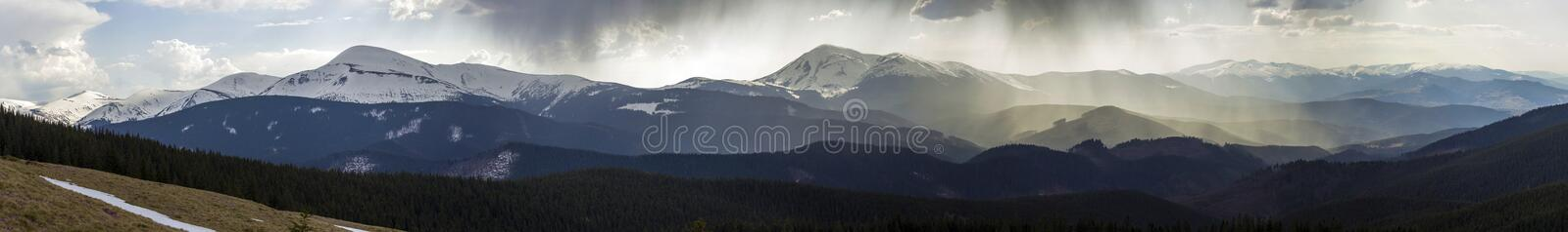 Breathtaking panoramic view of magnificent foggy Carpathian moun royalty free stock image