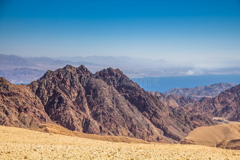 Breathtaking Panoramic view of Mount Salomon `Har Shelomo` Hebrew in Eilat Mountains and the Gulf of Aqaba. Red Sea, South Israel royalty free stock photo