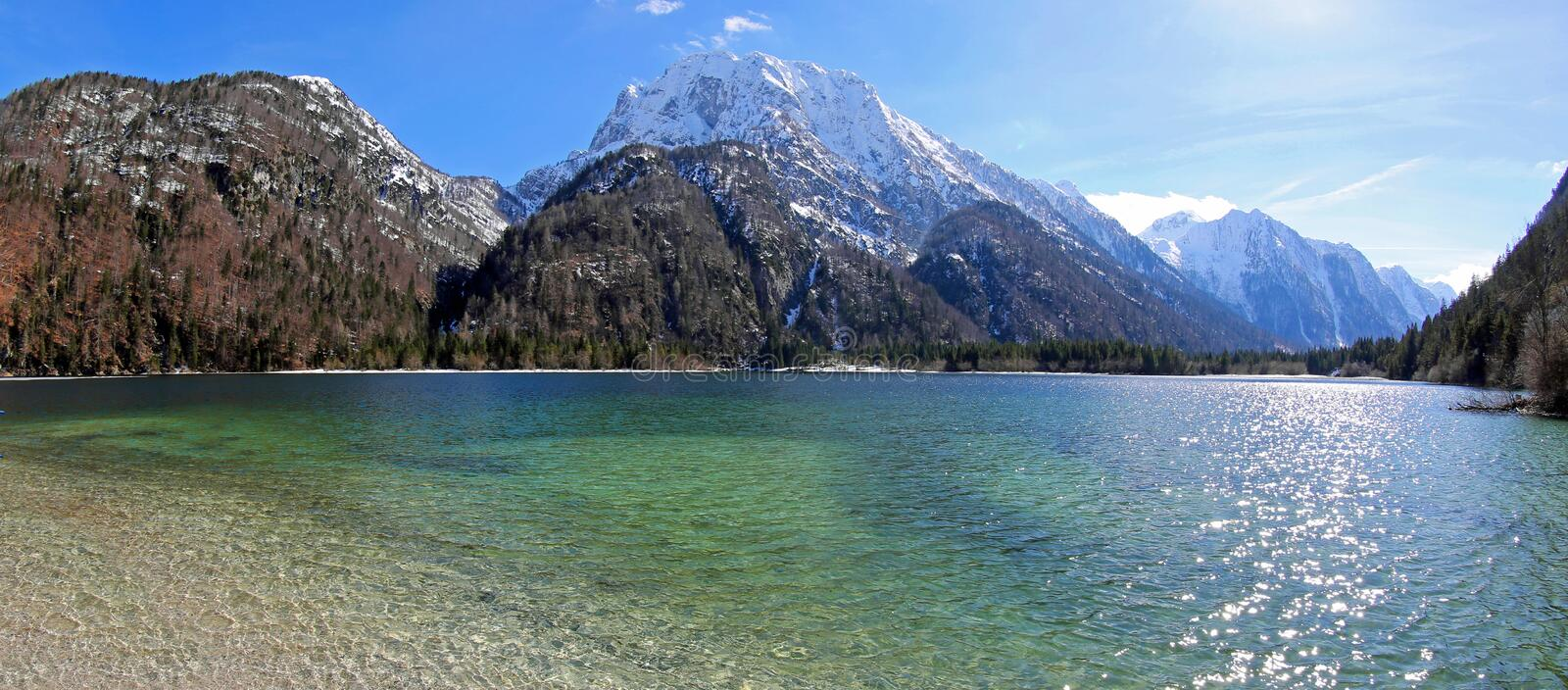 Breathtaking panoramic view of Predil Lake in Italy royalty free stock image
