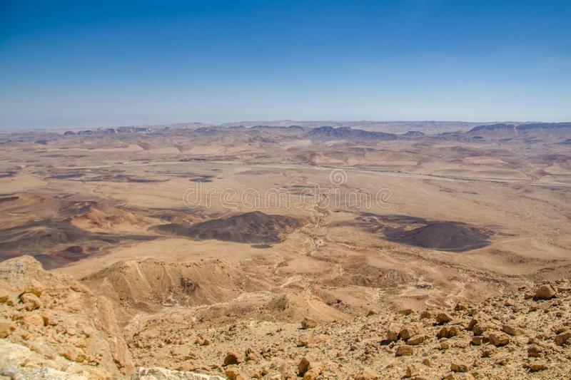 Breathtaking panoramic view of Ramon crater in the Negev Desert Southern Israel royalty free stock photos
