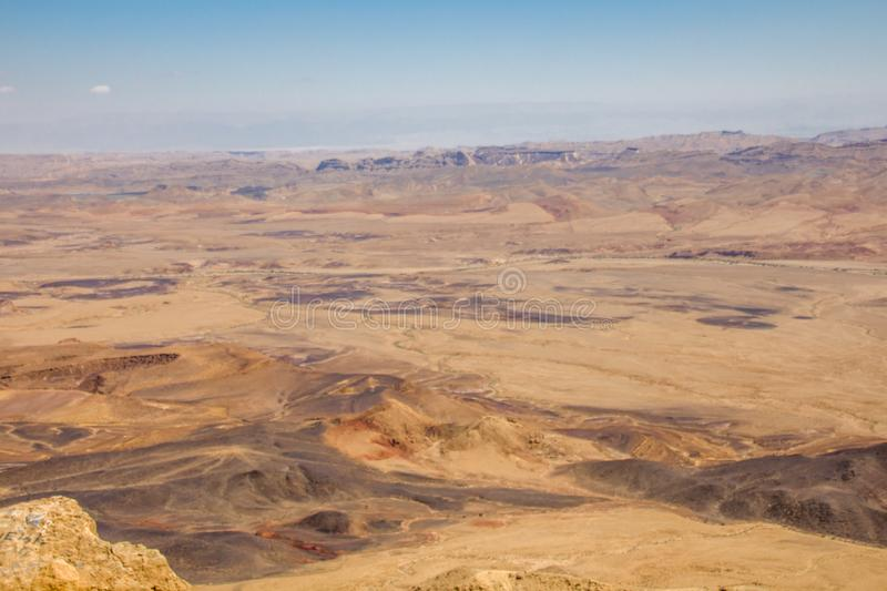 Breathtaking panoramic view of Ramon crater in the Negev Desert Southern Israel stock photo