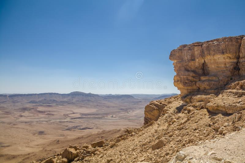 Breathtaking panoramic view of Ramon crater in the Negev Desert Southern Israel stock image