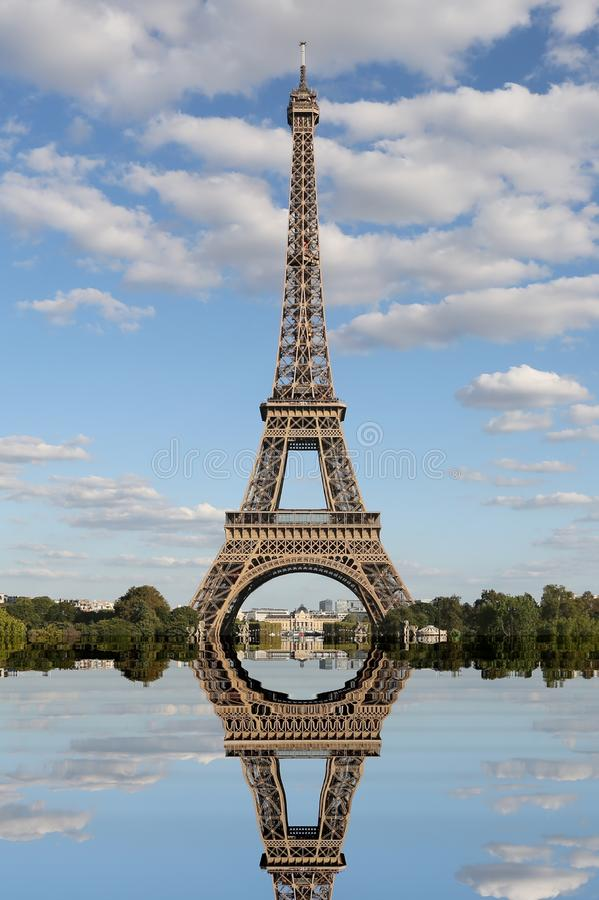 Breathtaking reflection of the Eiffel Tower seen from the Trocad stock image