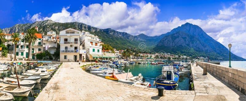 Breathtaking scenery of beautiful Adriatic coast in Dalmatia, Croatia. Gradac village and tourist resort. Beautiful Gradac village,panoramic view,Dalmatia stock images