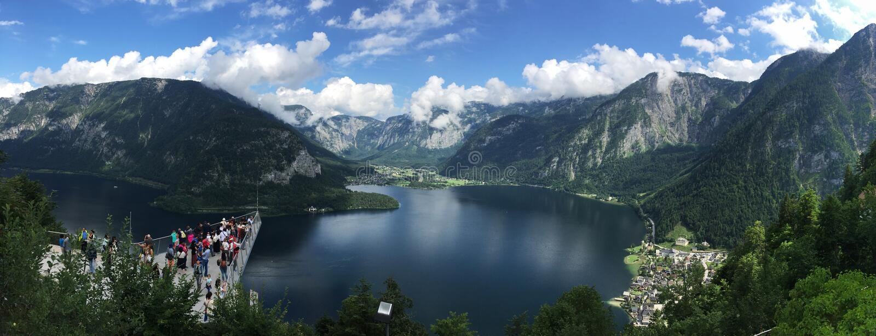 Breathtaking scenery of Hallstatt in Austria from above stock photos