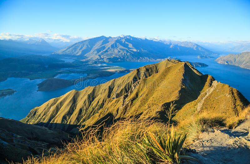 Breathtaking, Stunning Landscape View from Roys Peak on Lake Wanaka at twilight, South Island, New Zealand.  royalty free stock photo