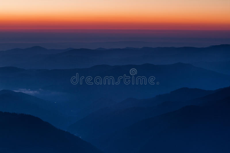 Breathtaking sunrise in mountain area stock image