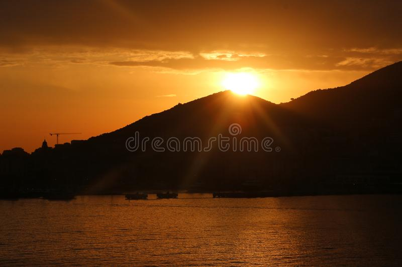 The breathtaking sunset on the Iles Sanguinaires Bloody Islands near Ajaccio, Corsica, France.  stock images