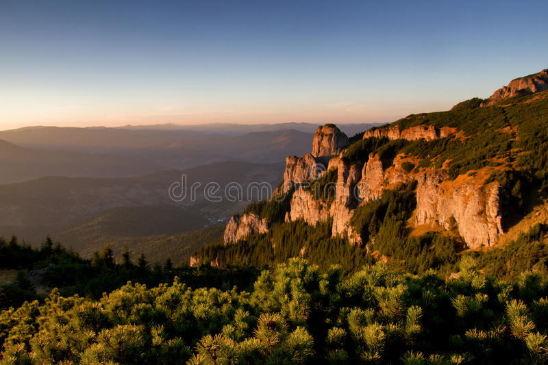 Breathtaking sunset in mountain area stock photo