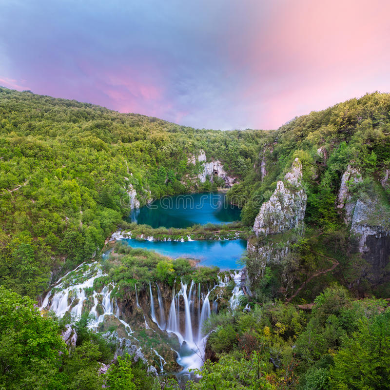 Breathtaking sunset view with waterfalls. Breathtaking sunset view in the Plitvice Lakes National Park (Croatia stock photography