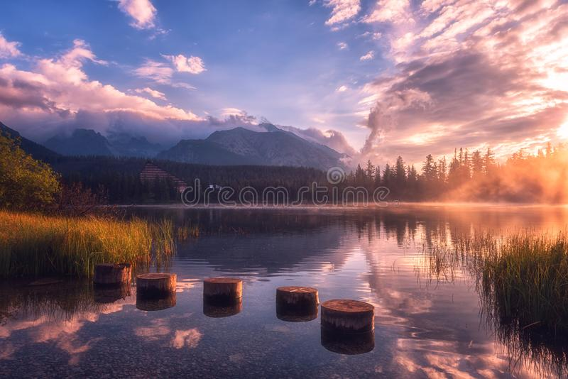 Breathtaking view of the alpine lake at sunrise, misty summer landscape, tourist resort lake Strbske Pleso, High Tatras, Slovakia stock photography