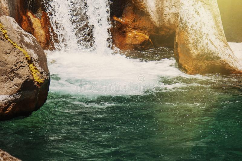Breathtaking view of beautiful waterfall of the mountain river. Sapadere canyon, Turkey. Summer vacation, rest, wild nature royalty free stock photography