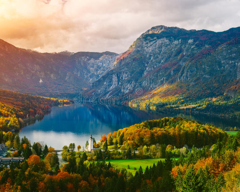 Breathtaking view of the famous Bohinj lake from above royalty free stock images