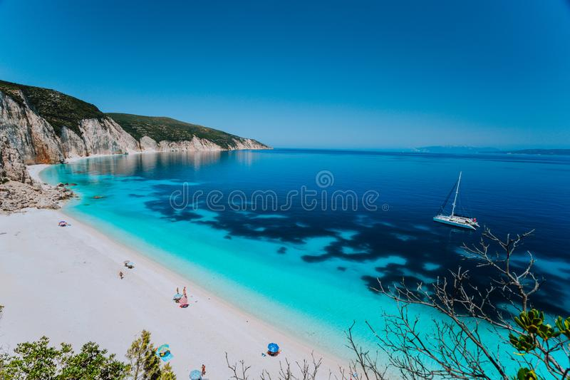 Breathtaking view of famous Fteri beach, Kefalonia, Greece Ionian islands. Summer adventure vacation holiday luxury travel stock photography